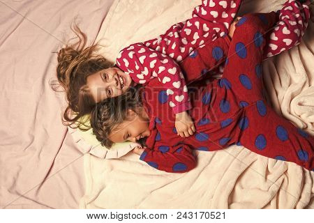 Child Childhood Children Happiness Concept. Children In Pajamas Happy Smile In Bed, Top View. Girl N
