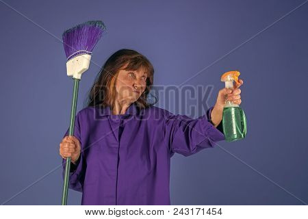 Cleanup And Order Services. Woman With Long Hair Hold Soup Bottle. Cleaning And Purity. Old Lady Cle