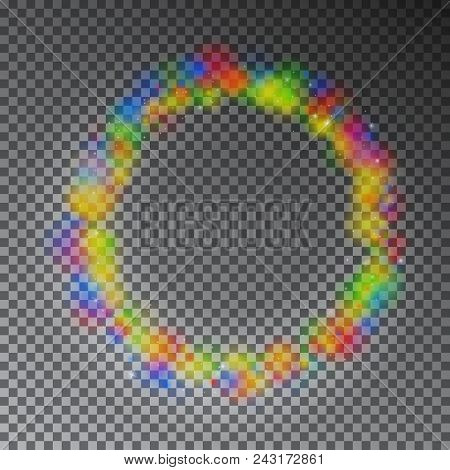 Vector Colorful Color Magic Circle. Glowing Rainbow Ring Effect With Sparkle. Glitter Sparkle Swirl