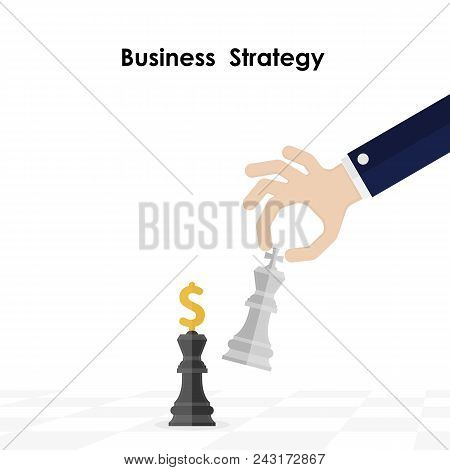 Hands And King Of Chess Symbol With Business And Marketing Strategy.businessman Hand Holding Chess K