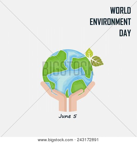 Hand And Green Leaves Sign.world Environment Day Concept Vector Logo Design Template.june 5st World