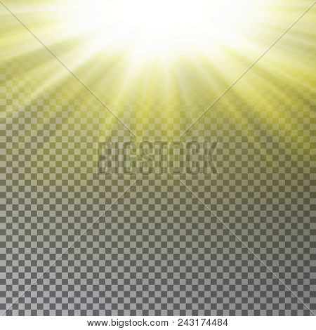 Yellow Sun Ray Light Effect Isolated On Transparent Background. Realistic Sun Ray Light Effect. Star
