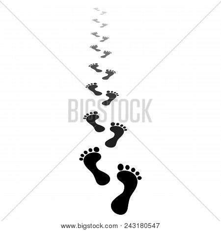 Black Silhouette. Human Footprint. Footprints Of Bare Feet Walking Along The Path And Go Beyond The