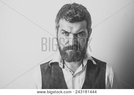 Man With Serious Emotion. Barber Fashion And Beauty. Fashion Model With Stylish Hair Isolated On Whi
