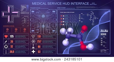 Modern Medical Examination, Style Hud. A Futuristic Medical Infographics, A Virtual Body Scanning In