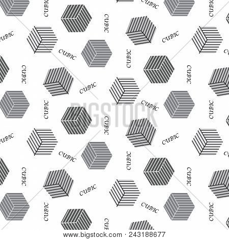 Silver Shade Cubic Shape With Line Inside And Cubic Word Pattern Background Vector Illustration Imag