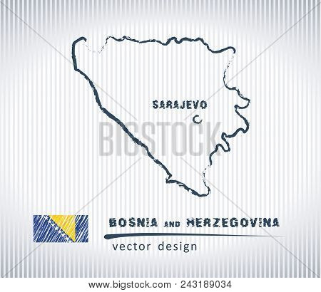 Bosnia And Herzegovina Vector Chalk Drawing Map Isolated On A White Background