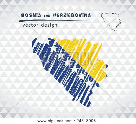 Map Of Bosnia And Herzegovina With Hand Drawn Sketch Map Inside. Vector Illustration