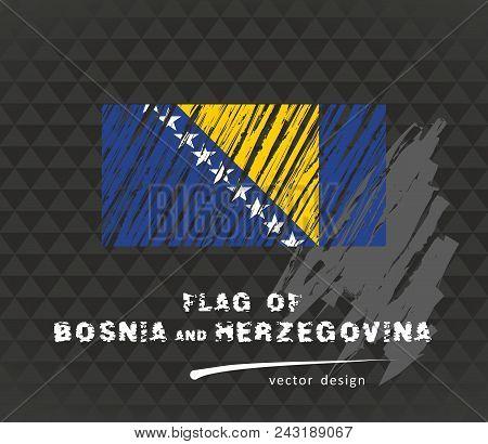 Bosnia And Herzegovina Flag, Vector Sketch Hand Drawn Illustration On Dark Grunge Background