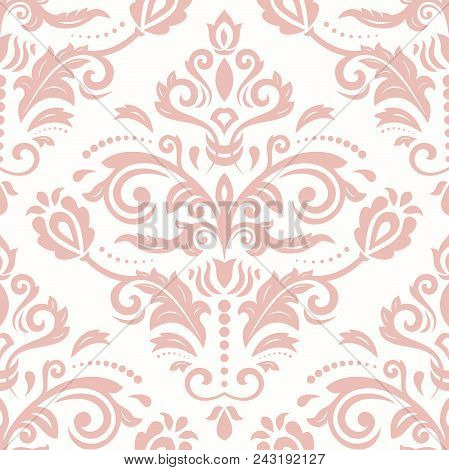 Classic Seamless Vector Pattern. Damask Orient Ornament. Classic Vintage Pink Background. Orient Orn