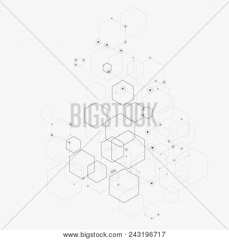 Abstract Vector Illustration With Hexagons, Lines And Dots On White Background. Hexagon Infographic.
