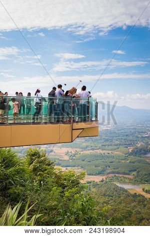 Many People Walking On Sky Walk At Wat Pha Tak Sue.