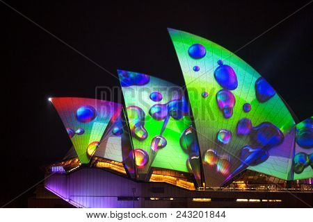Sydney, Australia - May 29, 2018;  Sydney Opera House Illuminated With Beautiful Vibrant Imagery, Bo