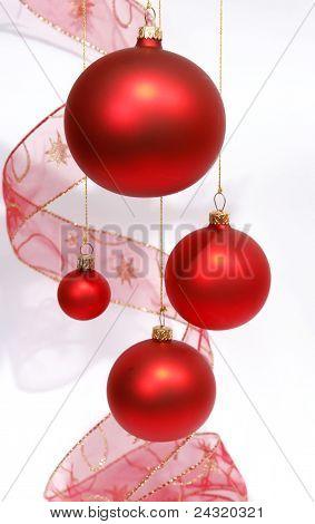 Hanging red glass balls