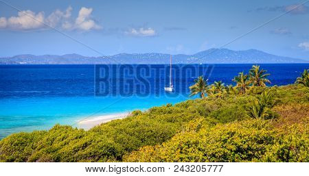 Seaside view from a small island in BVI with a sailboat