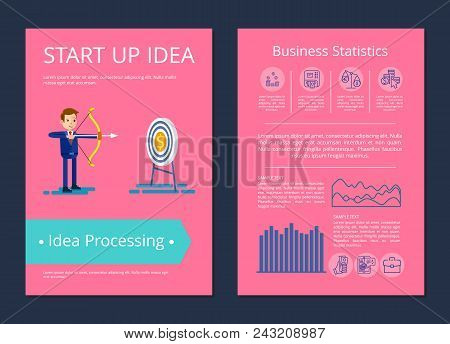 Start Up Idea And Processing, Businessman Shooting With Bow In Target Which Is Money, Text And Icons