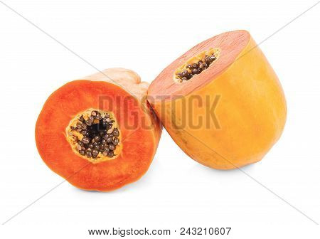 Papaya Isolated On White Background.ripe Papaya Isolated.yellow Papaya Isolated.fresh Papaya Isolate