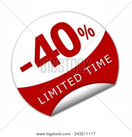 Sticker Forty Percent Off For A Limited Time.