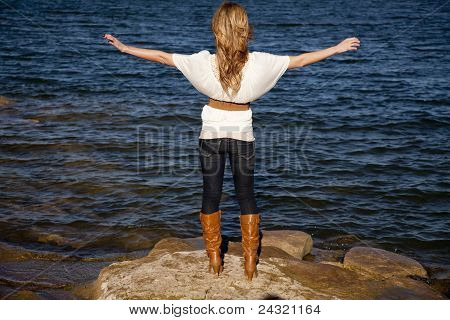 Back Woman Arms Out Water