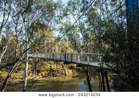 Footbridge Over The Goulburn River At Shepparton In The Goulburn Valley, Australia.