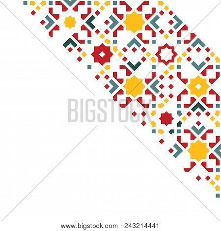Islamic Greeting Card. Ramadan Mubarak Celebration Template With Arabic Geometric Traditional Patter