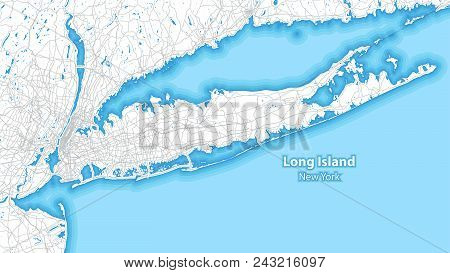 Two-toned Map Of Long Island, New York With The Largest Highways, Roads And Surrounding Islands And