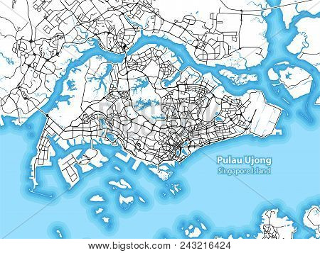 Two-toned Map Of The Island Of Pulau Ujong, Singapore With The Largest Highways, Roads And Surroundi