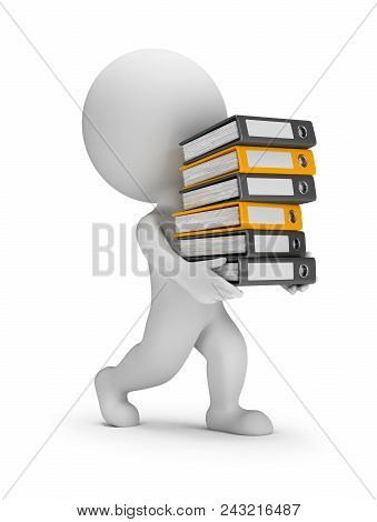 3d Small Person Carries A Stack Of Folders. 3d Image. White Background.