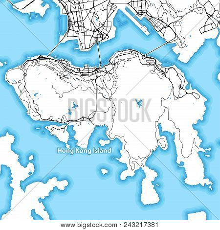 Map Of Hong Kong Island With The Largest Highways, Roads And Surrounding Islands And Islets