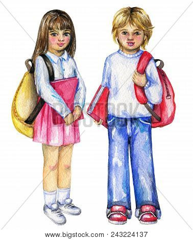 Schoolboy And Schoolgirl With Schoolbags And Books Isolated On White Background. Watercolor Hand Pai