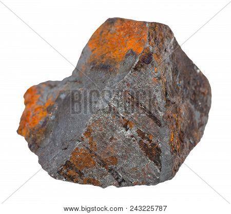 Macro Shooting Of Natural Rock Specimen - Hematite Stone (iron Ore) Isolated On White Background Fro