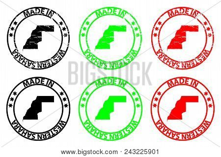 Made In Western Sahara - Rubber Stamp - Vector, Western Sahara Map Pattern - Black, Green And Red