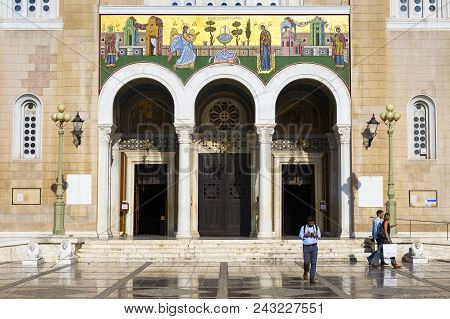 Athens, Greece - May 30, 2018: Tourists In A Square In Front Of The Metropolitan Cathedral Of Athens