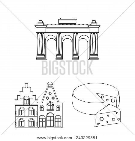 Country Belgium Outline Icons In Set Collection For Design.travel And Attractions Belgium Vector Sym