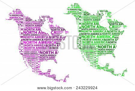 Sketch North America Letter Text Continent, North America Word - In The Shape Of The Continent, Map