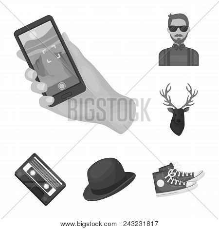 Style Hipster Monochrome Icons In Set Collection For Design. Hipster Attributes And Accessories Vect