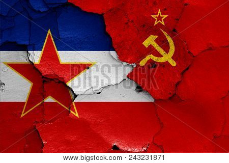 Flags Of Yugoslavia And Soviet Union On A Wall
