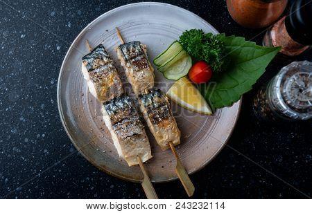 Skewer Grilled Saba Fish With Salt.