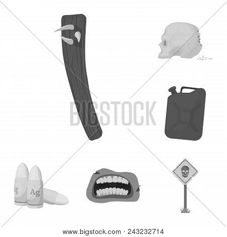 Zombies And Attributes Monochrome Icons In Set Collection For Design. Dead Man Vector Symbol Stock