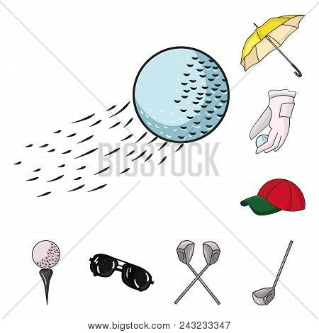 Golf And Attributes Cartoon Icons In Set Collection For Design.golf Club And Equipment Vector Symbol