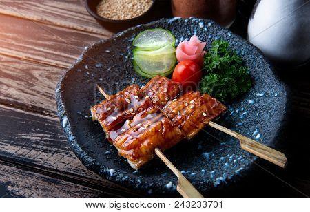 Japanese Eel Grilled In Skewer.