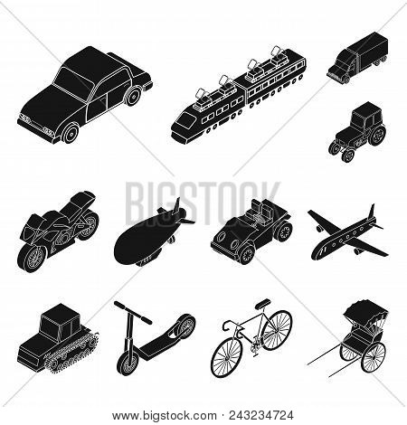 Different Types Of Transport Black Icons In Set Collection For Design. Car And Ship Isometric Vector