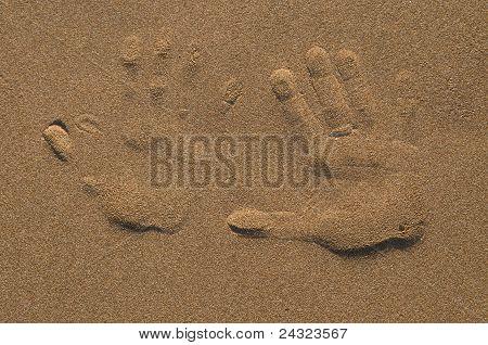 Two palm prints on send
