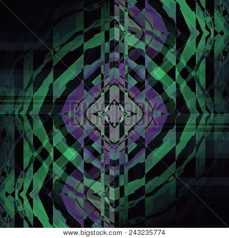 Abstract Geometric Dark Background. Regular Intricate Stripes Pattern Black, Light Blue, Purple And
