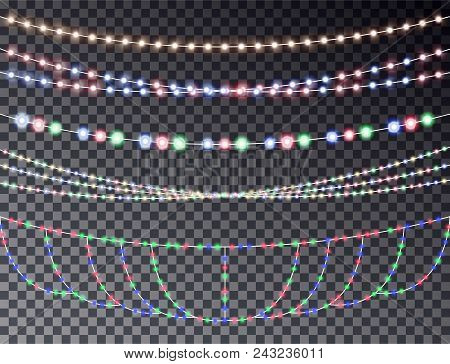 Vector Set Of Overlapping, Glowing Transparent Light Garlands Isolated On A Dark Background. Christm
