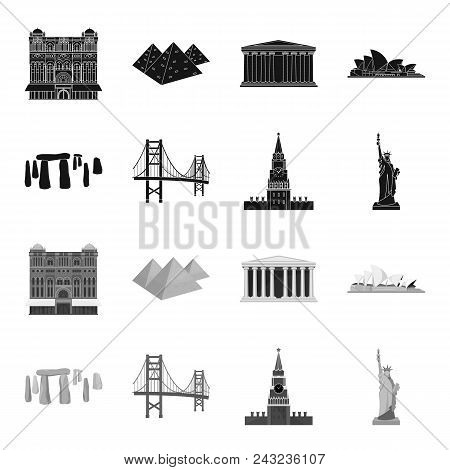 Sights Of Different Countries Black, Monochrome Icons In Set Collection For Design. Famous Building
