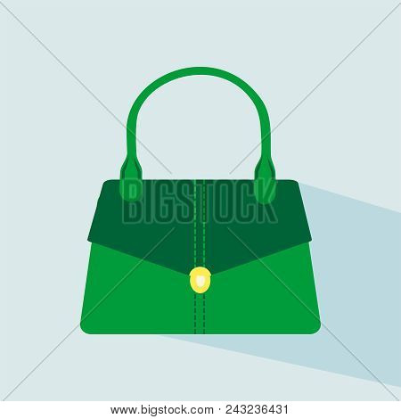 Flat Hand Stylish Bags. Green Colored Womans Bags, For Lady. Colorful Female Modern Bag Icon. Vector