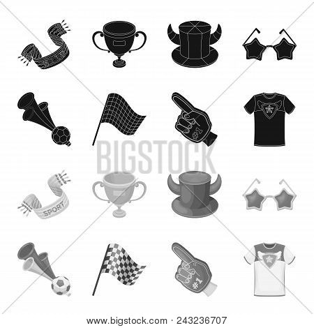 Pipe, Uniform And Other Attributes Of The Fans.fans Set Collection Icons In Black, Monochrome Style