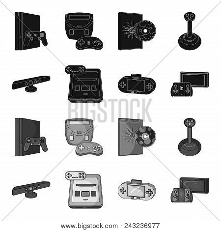 Game And Tv Set-top Box Black, Monochrome Icons In Set Collection For Design.game Gadgets Vector Sym