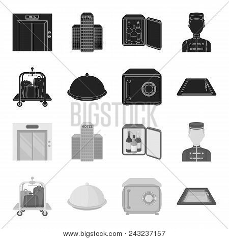 Trolley With Luggage, Safe, Swimming Pool, Clutch.hotel Set Collection Icons In Black, Monochrome St